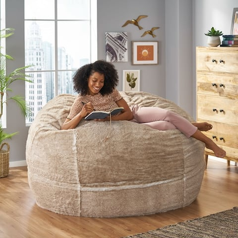 Greyrock Modern Glam Faux Fur Winter Bean Bag by Christopher Knight Home