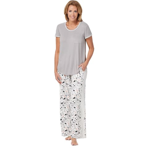 Cuddl Duds Womens Cool & Airy Color- Block PJ Pajama Set Petite L Grey A349591