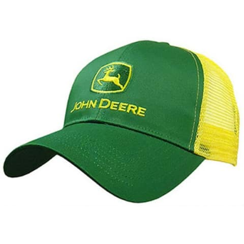 John Deere 13080277YW00 Mesh Back 6 Panel Cap, One Size, Yellow & Green
