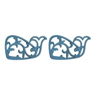 2 Piece Distressed Blue Floral Scroll Whale Cast Iron Trivet Set