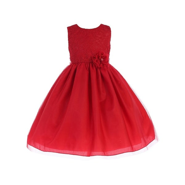 Shop Crayon Kids Little Girls Red Lace Flower Bow Flower Girl Dress 4T -  Free Shipping Today - Overstock - 23140532 9b2ac1a990d1