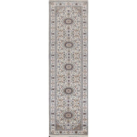"""Floral Nain Persian Wool Runner Rug Hand-knotted Traditional Carpet - 2'8"""" x 11'10"""""""