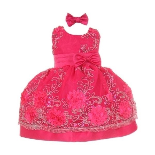 Baby Girls Fuchsia Floral Pattern Satin Easter Flower Girl Bubble Dress 3-24M