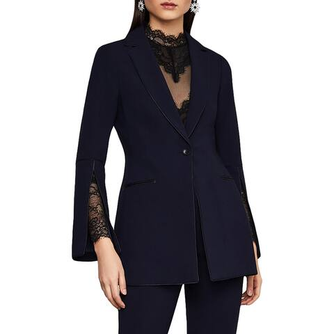 BCBG Max Azria Womens Blazer Woven Faux Leather Trim
