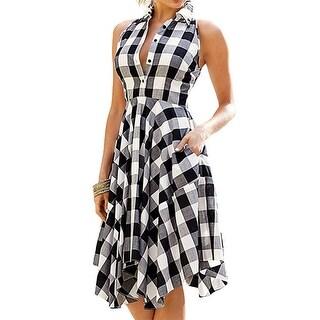 Women Sleeveless Plaid Pleated Casual Shirt Dress
