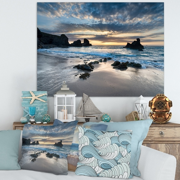 Designart 'Beautiful Porthcothan Bay' Modern Seashore Canvas Wall Art Print - Blue. Opens flyout.