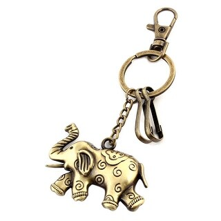 Unique BargainsWallet Metal Elephant Shaped Ornament Lobster Clasp Ring Keychain Bronze Tone
