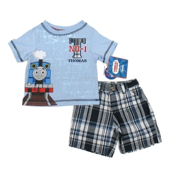 Thomas The Train Baby Boys Blue Printed Tee Plaid Shorts 2 Pc Outfit 12-24M