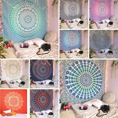 Oussum Home Decorative Bohemian Mandala Tapestry Wall Hanging Indian Throw Tapestries Queen Size Cotton Bedspread Beach Blanket