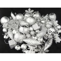125ct Silver Splendor Shatterproof 4-Finish Christmas Ornaments