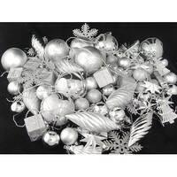 375-Piece Club Pack of Shatterproof Silver Splendor Christmas Ornaments