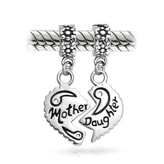 Bling Jewelry Silver Mother Daughter Heart Dangle Bead Charm Set