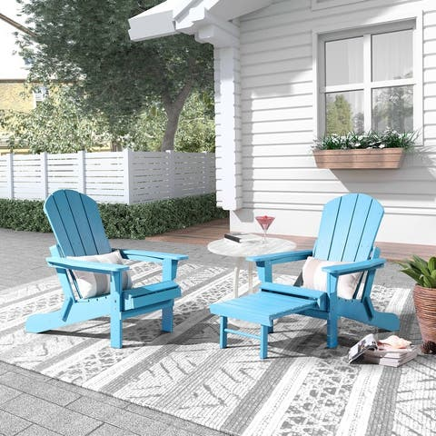 Hurley Folding Poly Adirondack Chair with Pull-out Ottoman, Set of 2