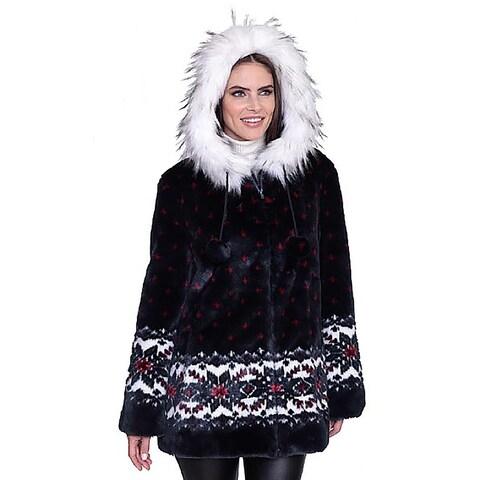 "DuMonde Black Mountain Ladies ""Snowflake"" Faux Fur Coat"