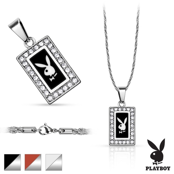 316L Stainless Steel Rope Chain with Square Playboy Logo Paved Gem Pendant  (12.5 mm Width)