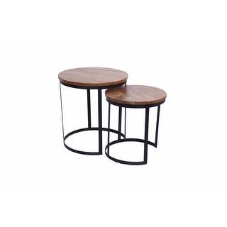 Tremendous Round Iron  Nesting Table, Brown, Set of 2