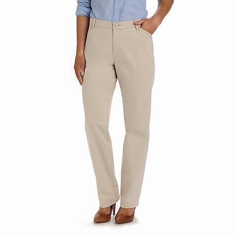 Lee Women's Casual Pants Beige Size 10X33 Khaki Straight Leg Stretch