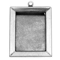 Antiqued Silver Plated Picture Frame Bezel Pendant With Backs 33 x 24mm (2)