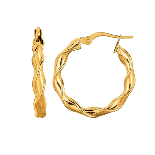 Mcs Jewelry Inc 14 KARAT YELLOW GOLD TWISTED ROUND HOOP EARRINGS (DIAMETER: 25MM)