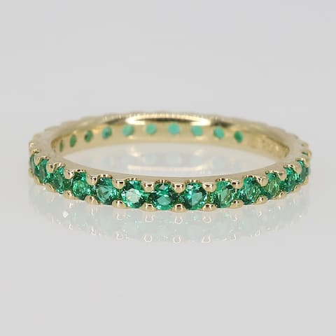 Miadora 10k Yellow Gold Created Emerald Stackable Eternity Wedding Band Ring