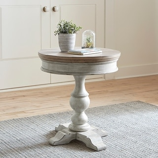 Link to Heartland Antique White Round Pedestal Chair Side Table Similar Items in Living Room Furniture