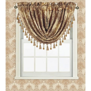 Fiona Jacquard Medallion Waterfall Valance With Tassels, 48x37 Inches (Option: Gold)