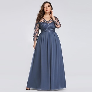 Ever-Pretty Womens Plus Size Lace Long Sleeve Evening Prom Formal Dress  76332 | Overstock.com Shopping - The Best Deals on Dresses