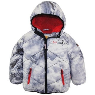 Big Chill Little Boys' Quilted Coat Stitch Winter Puffer Jacket with Sherpa Hood