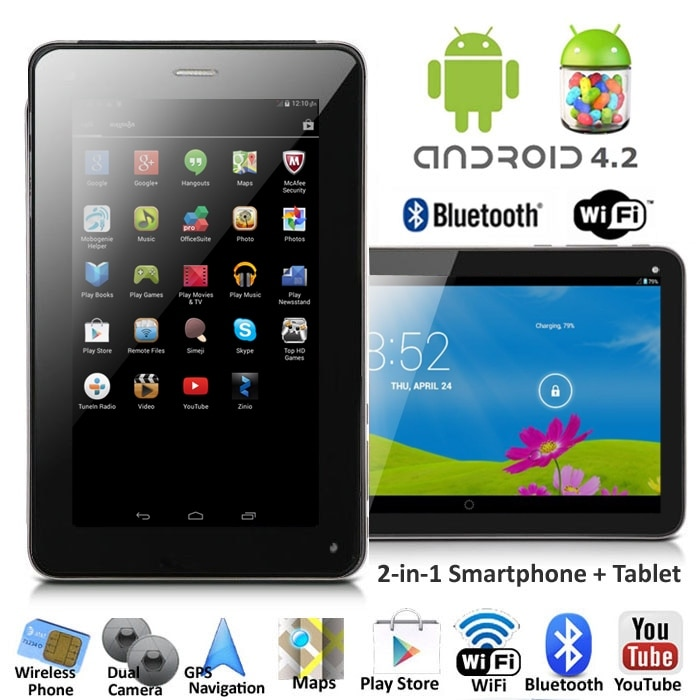 Indigi® 7.0inch Dual-Core Dual-Sim Android 4.2 SmartPhone and Tablet + WiFi + Bluetooth Sync + (Front&Rear) Cameras - Black - Thumbnail 0