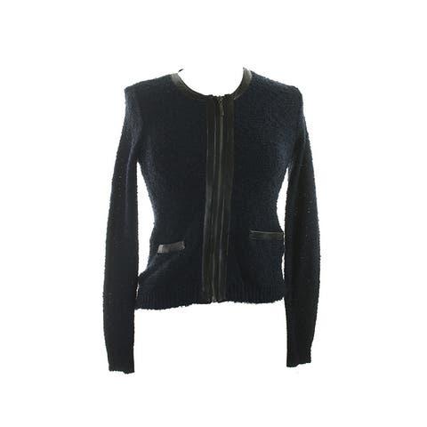 Alfani Navy Texture Mixed-Media Zip-Front Jacket PM