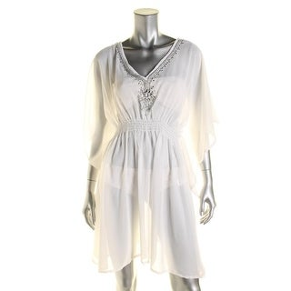 Beach by Exist Womens Embellished Caftan Dress Swim Cover-Up - o/s