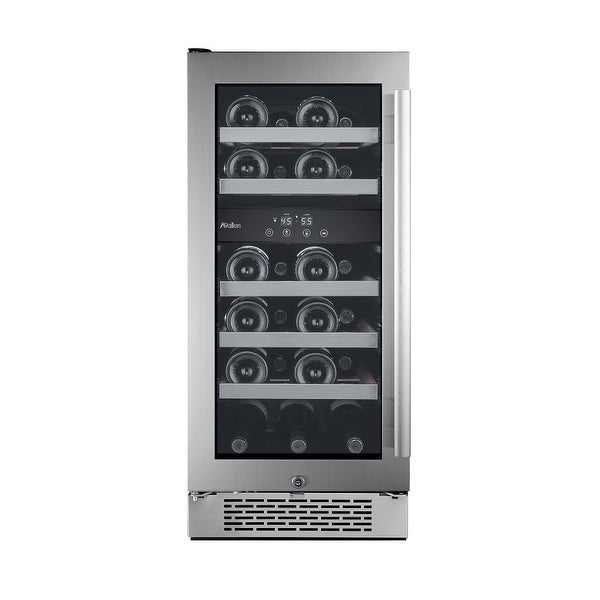 Avallon AWC151DZLH 15 Inch Wide 23 Bottle Capacity Dual Zone Wine Cooler with Left Swing Door