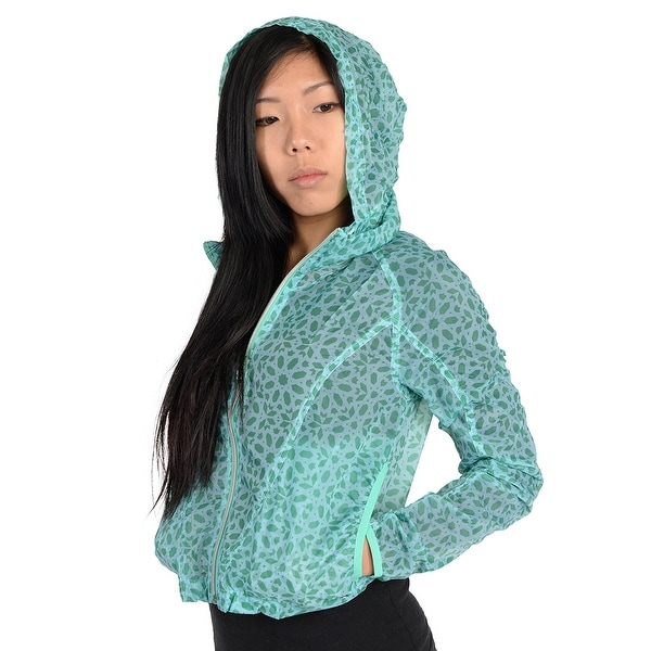 8f700be5906cf Adidas Womens Pattern Lightweight Windbreaker Jacket Aqua - Aqua Green - M