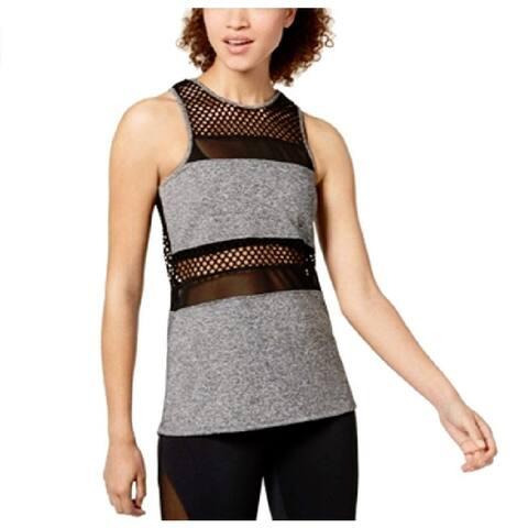 Material Girl Juniors Mesh Tank Top Heather Grey Size Extra Large - Black - X-Large