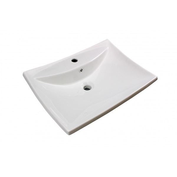 Bathroom Sink White China Deluxe Square Wall Mount