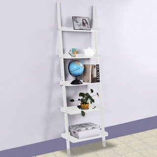 Costway White 5-Tier Bookshelf Leaning Wall Shelf Ladder  Bookcase Storage Display Furni