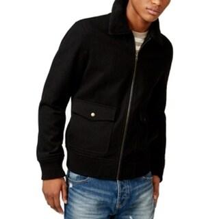 American Rag CIE NEW Solid Black Mens Size XL Full-Zip Wool Jacket