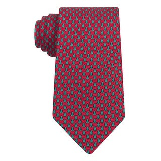 Tommy Hilfiger Christmas Tree Micro Print Classic Silk Tie Holiday Red and Green
