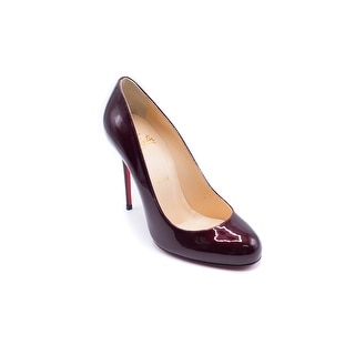 Christian Louboutin Womens FiFi 100 Metal Burgundy Patent Leather Pumps Size 37 / 7