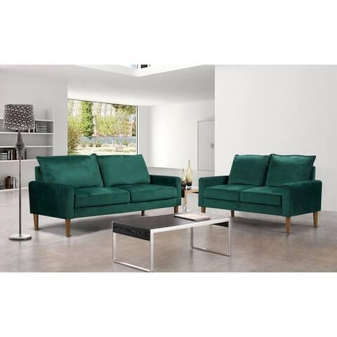 Velvet Fabric Loveseat and Sofa
