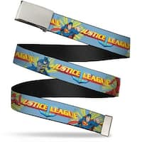 Blank Chrome Buckle Justice League Superhero Action Poses1 Baby Blue Web Belt