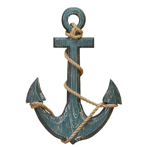Nautical Distressed Hanging Wooden Anchor Art Decor with Rope, Blue