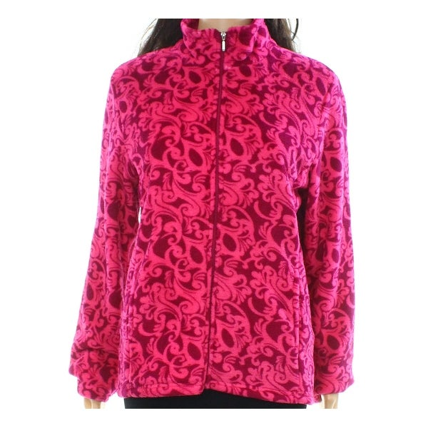 Miss Elaine NEW Pink Womens Size Small S Mock Neck Printed Jacket