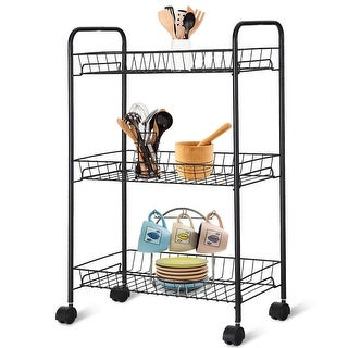 Costway 3 Tier Rolling Kitchen Trolley Utility Cart Metal Wire Storage Shelf Baskets