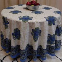 "Handmade 100% Cotton Tuscan Style Floral Tablecloth 90"" Round Blue Green"