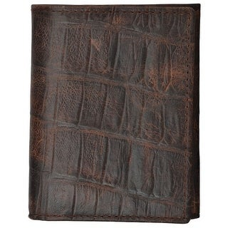3D Western Wallet Mens Basic Trifold Gator Print Slots Cognac W234 - One size