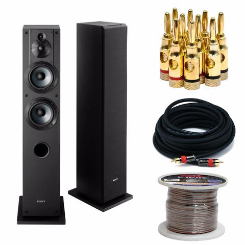 Sony SSCS3 3-Way Floor-Standing Speaker (2-Pack ) w/ Accessory Bundle - Black