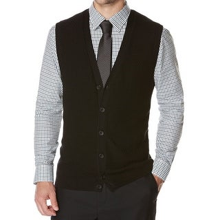 Perry Ellis NEW Black Mens Size Big 5X Button Down Vest Sweater