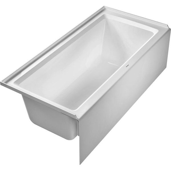"""Duravit 700408-L-19TALL Architec 66"""" Alcove Acrylic Soaking Tub with Left Drain and Overflow - White"""