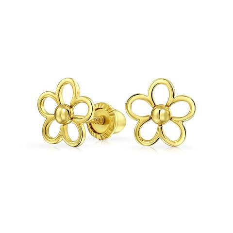 Minimalist Daisy Flower Stud Earrings Real 14K Yellow Gold Screwback - 6.46